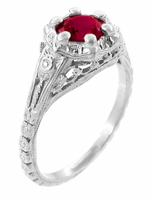 Art Deco Filigree Flowers Lab Created Ruby Engagement Ring in 14 Karat White Gold - Item R706WCR - Image 1
