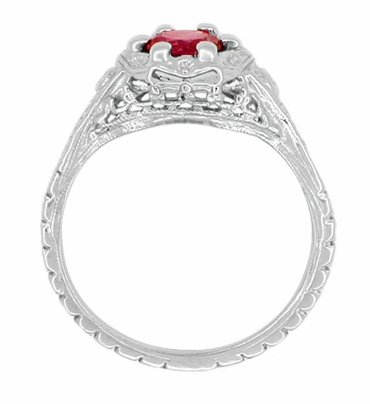 Art Deco Filigree Flowers Lab Created Ruby Engagement Ring in 14 Karat White Gold - Item R706WCR - Image 2