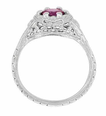 Art Deco Filigree Flowers Rhodolite Garnet Engagement Ring in 14 Karat White Gold - Item R706WRG - Image 2