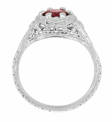 Art Deco Filigree Flowers Ruby Engagement Ring in 14 Karat White Gold - Item R706WR - Image 2
