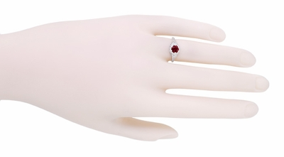 Art Deco Filigree Flowers Ruby Engagement Ring in 14 Karat White Gold - Item R706WR - Image 3