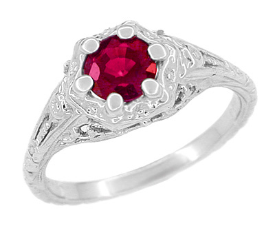 Art Deco Filigree Flowers Ruby Promise Ring in Sterling Silver