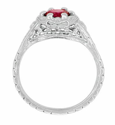Art Deco Filigree Flowers Ruby Promise Ring in Sterling Silver - Item SSR706CR - Image 2