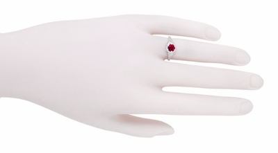 Art Deco Filigree Flowers Ruby Promise Ring in Sterling Silver - Item SSR706CR - Image 3