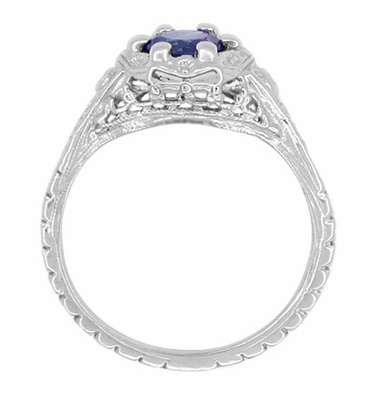Art Deco Filigree Flowers Sapphire Engagement Ring in 14 Karat White Gold - Item R706 - Image 2