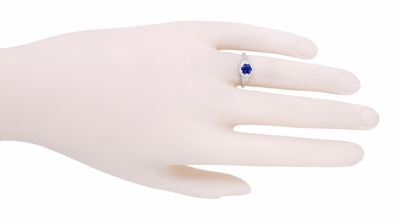 Art Deco Filigree Flowers Sapphire Engagement Ring in 14 Karat White Gold - Item R706 - Image 3