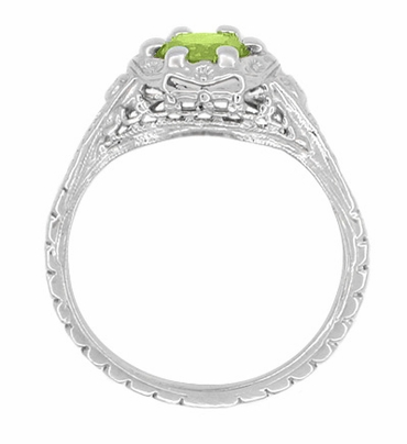 Art Deco Filigree Flowers Sterling Silver Peridot Promise Ring - Item SSR706P - Image 2