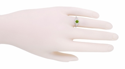 Art Deco Filigree Flowers Sterling Silver Peridot Promise Ring - Item SSR706P - Image 3