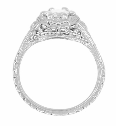 Art Deco Filigree Flowers Vintage Style White Sapphire Engagement Ring in 14K White Gold | Low Profile - Item R706WWS - Image 2