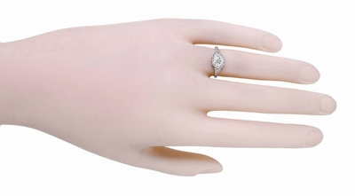 Art Deco Filigree Flowers Vintage Style White Sapphire Engagement Ring in 14K White Gold | Low Profile - Item R706WWS - Image 3