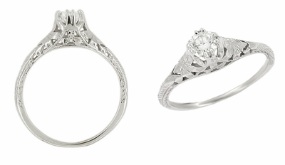 Art Deco Filigree Flowers & Wheat 1/4 Carat Diamond Engraved Engagement Ring 18K White Gold - Item R356 - Image 1