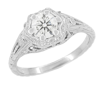 Art Deco Filigree Flowers Vintage Style White Sapphire Engagement Ring in 14K White Gold | Low Profile