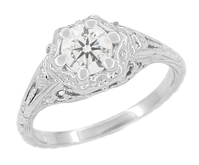 Art Deco Filigree Flowers White Topaz Promise Ring in Sterling Silver