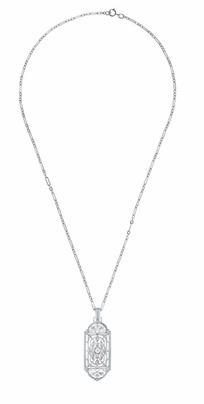 Art Deco Filigree Geometric Diamond Pendant Necklace in Sterling Silver - Item N150DIA - Image 2