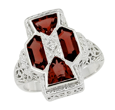 Art Deco Filigree Happy Family 4 Stone Almandine Garnet and Diamond Filigree Ring in 14 Karat White Gold