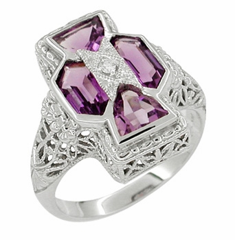 Art Deco Filigree Happy Family 4 Stone Amethyst and Diamond Filigree Ring in 14 Karat White Gold - Item RV6 - Image 2