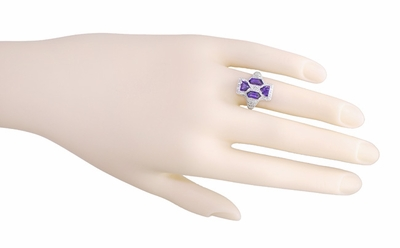 Art Deco Filigree Happy Family 4 Stone Amethyst and Diamond Filigree Ring in 14 Karat White Gold - Item RV6 - Image 4