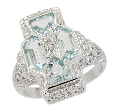 Art Deco Filigree Happy Family 4 Stone Blue Topaz and Diamond Filigree Ring in 14 Karat White Gold
