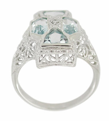 Art Deco Filigree Happy Family 4 Stone Blue Topaz and Diamond Filigree Ring in 14 Karat White Gold - Item RV1103 - Image 1