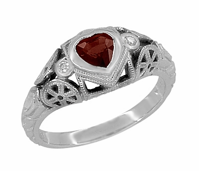 Art Deco Filigree Heart Shaped Almandine Garnet Promise Ring in Sterling Silver - Item SSR1119G - Image 1