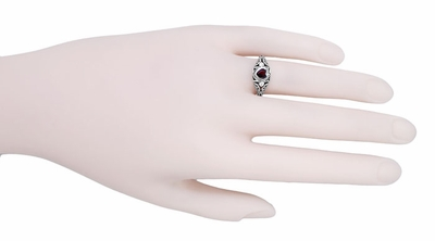 Art Deco Filigree Heart Shaped Almandine Garnet Promise Ring in Sterling Silver - Item SSR1119G - Image 4