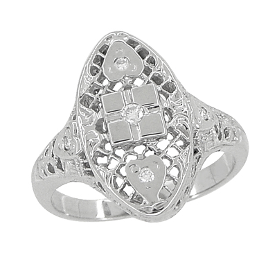 Art Deco Filigree Lozenge Shape Hearts and Diamonds Cocktail Ring in 14 Karat White Gold