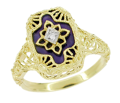 Art Deco Filigree Lapis Lazuli and Diamond Ring in 14 Karat Yellow Gold