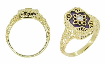 Art Deco Filigree Lapis Lazuli and Diamond Ring in 14 Karat Yellow Gold - Item RV369L - Image 1