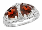 Art Deco Filigree Loving Duo Almandite Garnet Ring in 14 Karat White Gold - January Birthstone