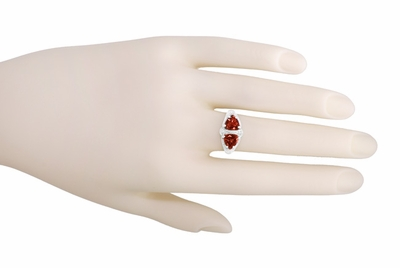 Art Deco Filigree Loving Duo Almandite Garnet Ring in 14 Karat White Gold - January Birthstone - Item R1129WG - Image 5