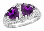 Art Deco Filigree Loving Duo Amethyst Ring in 14 Karat White Gold - February Birthstone