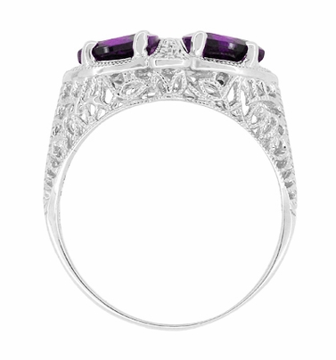 Art Deco Filigree Loving Duo Amethyst Ring in 14 Karat White Gold - February Birthstone - Item R1129AM - Image 3