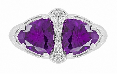 Art Deco Filigree Loving Duo Amethyst Ring in 14 Karat White Gold - February Birthstone - Item R1129AM - Image 4