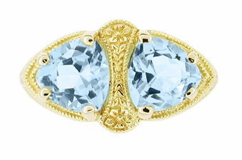 Art Deco Filigree Loving Duo Blue Topaz Ring in 14 Karat Yellow Gold - December Birthstone - Item RV751 - Image 2