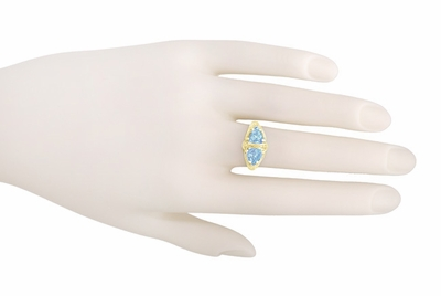 Art Deco Filigree Loving Duo Blue Topaz Ring in 14 Karat Yellow Gold - December Birthstone - Item RV751 - Image 3