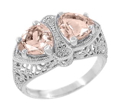 Art Deco Filigree Loving Duo Two Stone Morganite Ring in 14 Karat White Gold