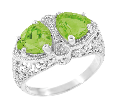 Art Deco Filigree Loving Duo Peridot Ring in 14 Karat White Gold - August Birthstone | Vintage 2 Stone RIng