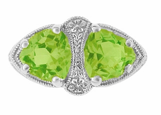Art Deco Filigree Loving Duo Peridot Ring in 14 Karat White Gold - August Birthstone | Vintage 2 Stone RIng - Item R1129WPER - Image 1