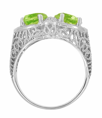 Art Deco Filigree Loving Duo Peridot Ring in 14 Karat White Gold - August Birthstone | Vintage 2 Stone RIng - Item R1129WPER - Image 2