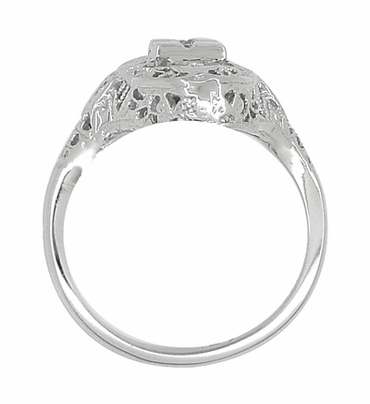 Art Deco Filigree Lozenge Shape Hearts and Diamonds Cocktail Ring in 14 Karat White Gold - Item R671 - Image 3