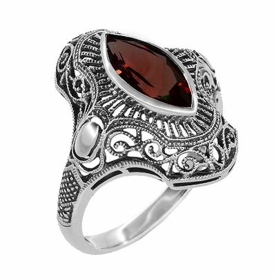 Art Deco Filigree Marquise Garnet Cocktail Ring in Sterling Silver | Vintage Inspired Right Hand Garnet Ring - Item SSR12G - Image 1
