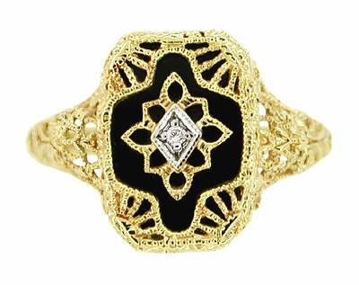 Art Deco Filigree Onyx and Diamond Ring in 14 Karat Yellow Gold - Item RV369 - Image 2