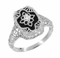 Art Deco Filigree Onyx and Diamond Ring in Sterling Silver
