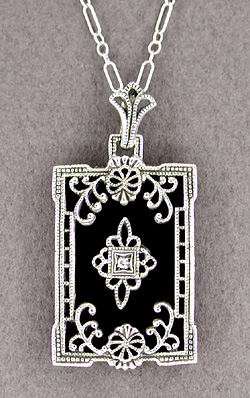 Art Deco Filigree Onyx and Diamond Rectangular Pendant Necklace in 14 Karat White Gold