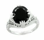 Art Deco Filigree Oval Black Onyx Ring in 14 Karat White Gold