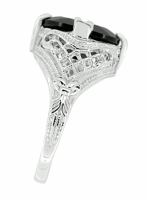 Art Deco Filigree Oval Black Onyx Ring in 14 Karat White Gold - Item R137ON - Image 1