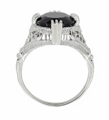 Art Deco Filigree Oval Black Onyx Ring in 14 Karat White Gold - Item R137ON - Image 2
