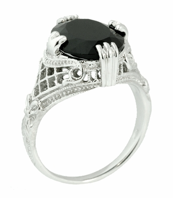 Art Deco Filigree Oval Black Onyx Ring in 14 Karat White Gold - Item R137ON - Image 3