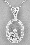 Art Deco Filigree Oval Sunray Crystal and Diamond Pendant Necklace in Sterling Silver