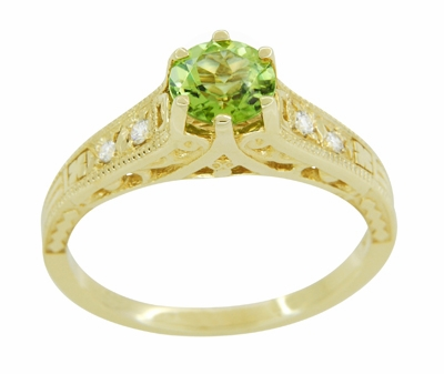 Art Deco Filigree Peridot and Diamond Engagement Ring in 14 Karat Yellow Gold - Item R158YPER - Image 1